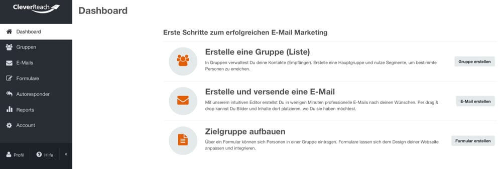E-Mail-Automation-Tools: Cleverreach -Dashboard