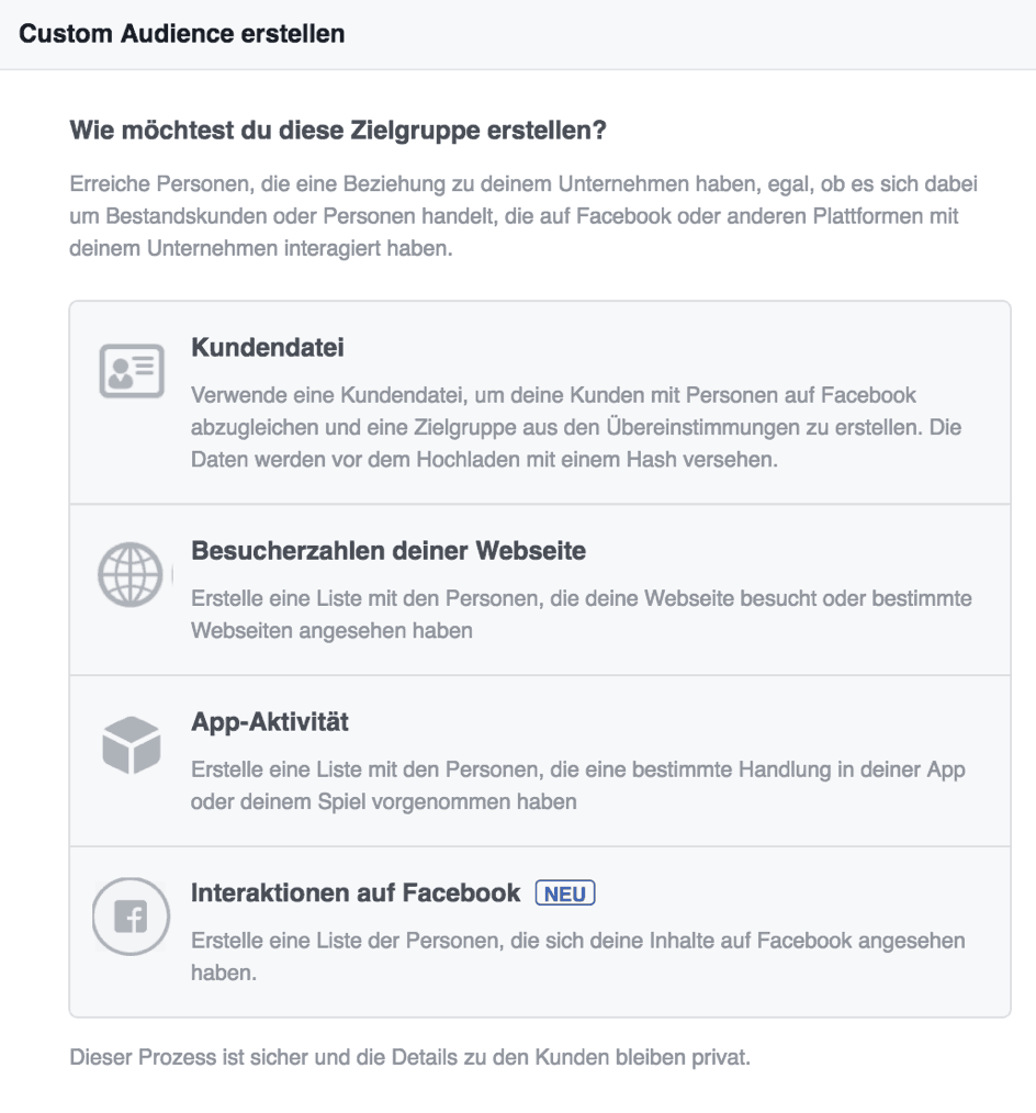 Facebook Werbung - Custom Audience