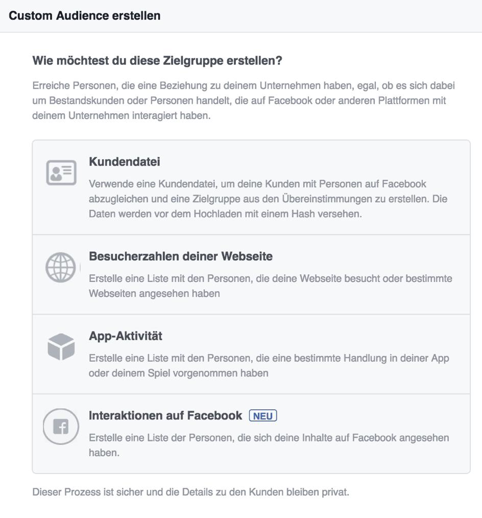 Facebook Werbung - Custom Audience