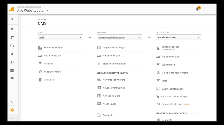 Aufbau von Google Analytics: Startseite
