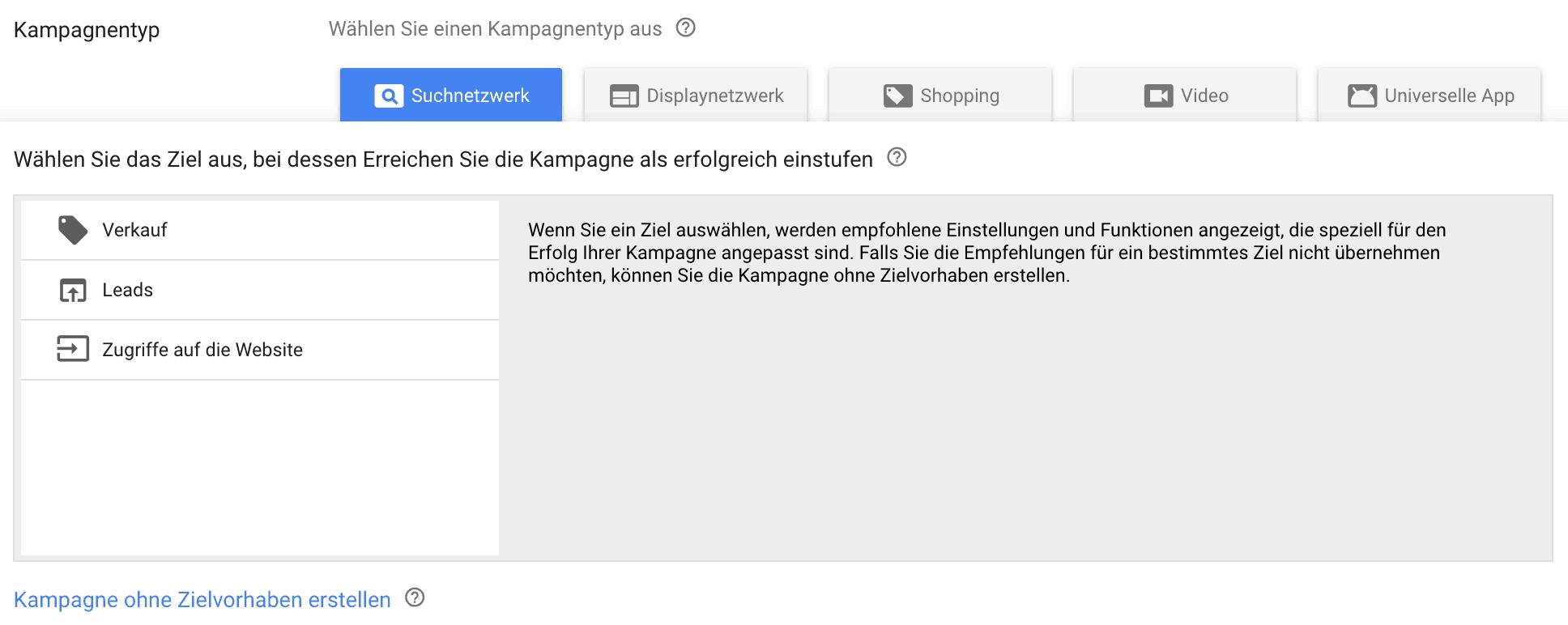 Zielauswahl für die Google-Ads-Kampagne