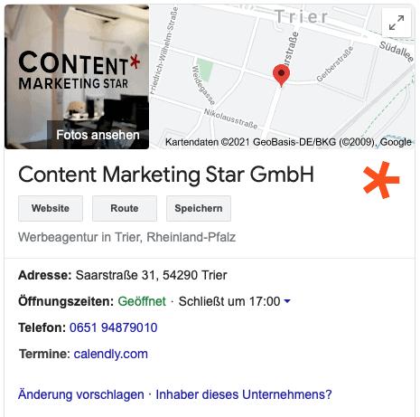 Google My Business-Eintrag von Content Marketing Star