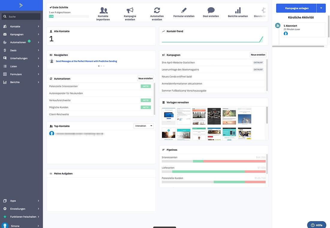 Das Dashboard von ActiveCampaign mit allen wichtigen Meldungen und Funktionen im Überblick.