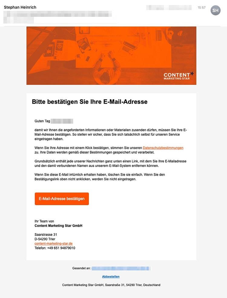 Sreenshot ActiveCampaign: Beispiel Opt-In-Mail CMS