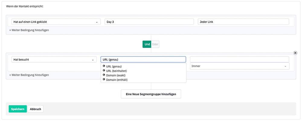 Sreenshot ActiveCampaign: Bewertungsregeln