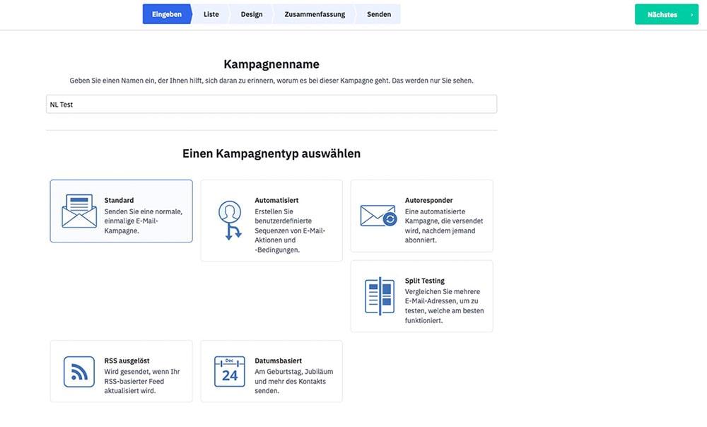 Sreenshot ActiveCampaign: Newsletter Erstellung