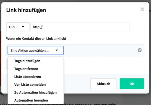 Sreenshot ActiveCampaign: Newsletter-Link hinzufügen