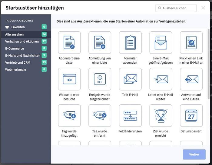 Sreenshot ActiveCampaign: Automation Trigger