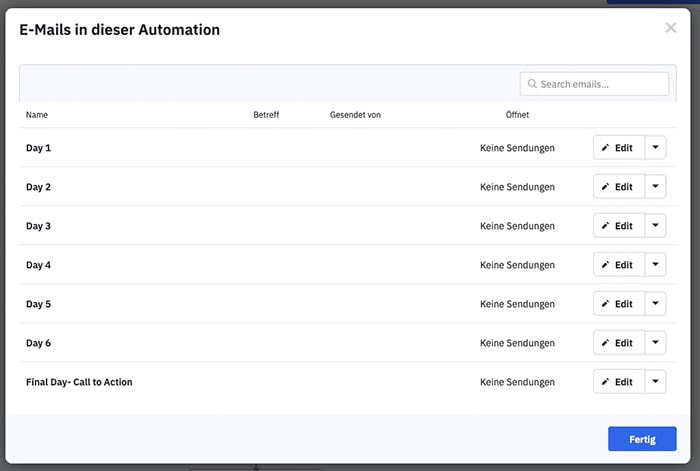 Sreenshot ActiveCampaign: Automation E-Mails