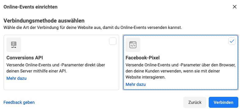 Facebook Verbindungsmethode für Pixel auswählen