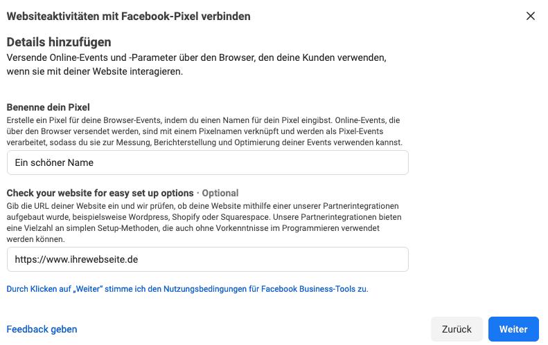 Erste Einrichtungsoptionen für das Facebook Pixel
