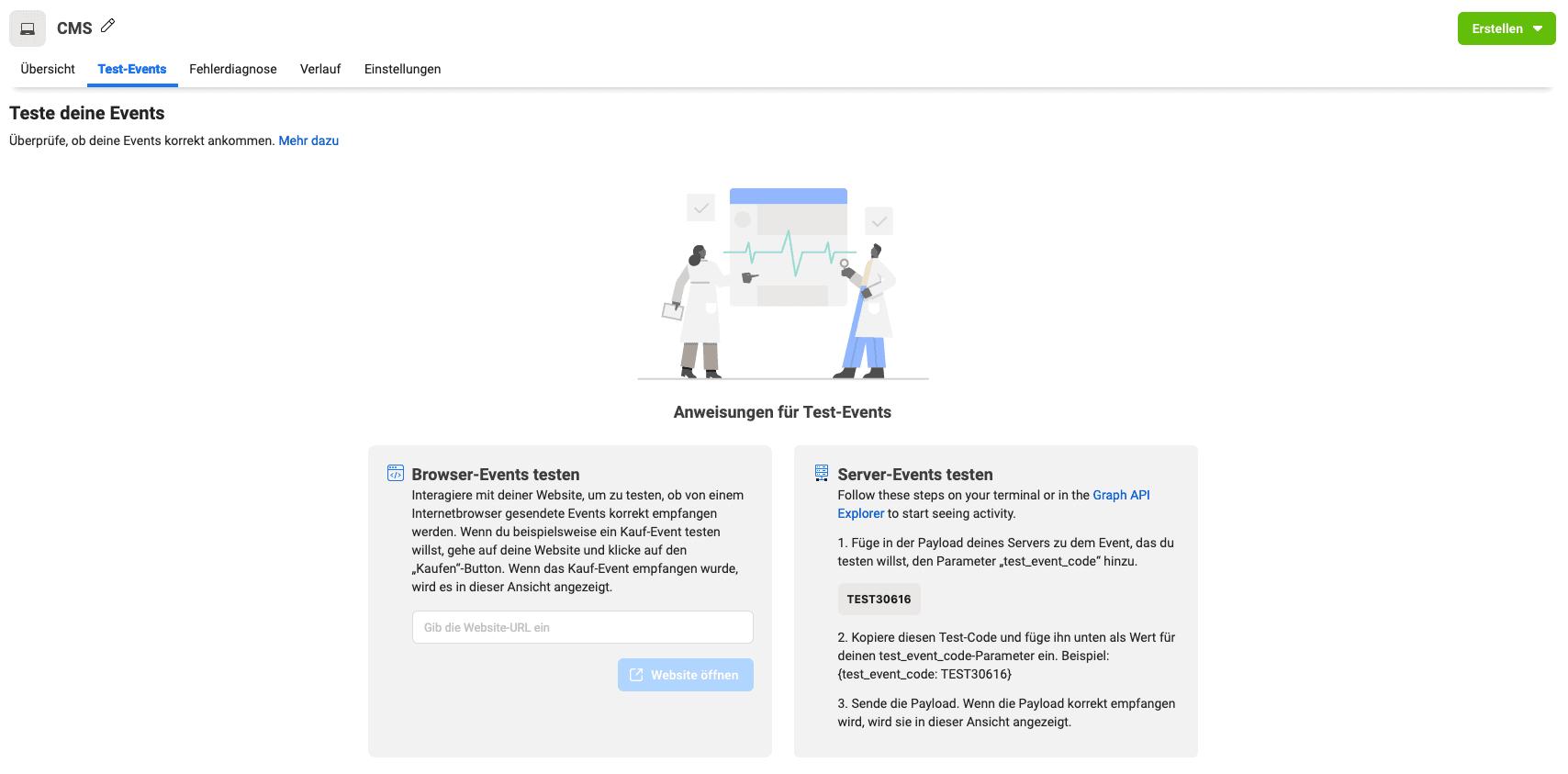 Mit Test-Events prüfen Sie, ob Ihr Facebook Pixel auch wirklich funktioniert.