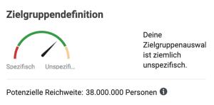 Screenshot mit Ergebnis, dass die Zielgruppenauswahl auf Facebook zu unspezifisch ist.