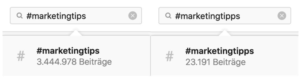 Vergleich der richtigen Hashtag-Wahl bei Instagram