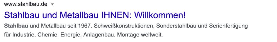 """Beispiel: Google-Suchergebnis zur Suchanfrage """"Stahlbauunternehmen"""""""