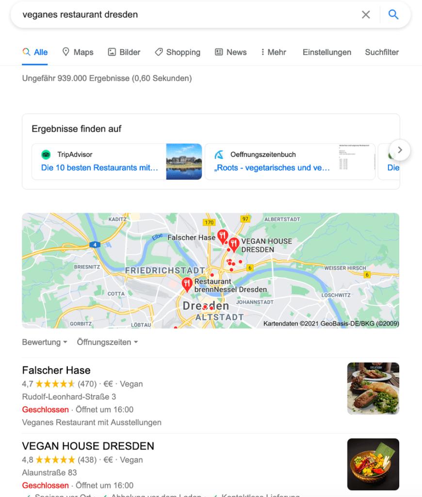 """Beispiel: Suchergebnisse für Suche """"Veganes Restaurant Dresden"""""""