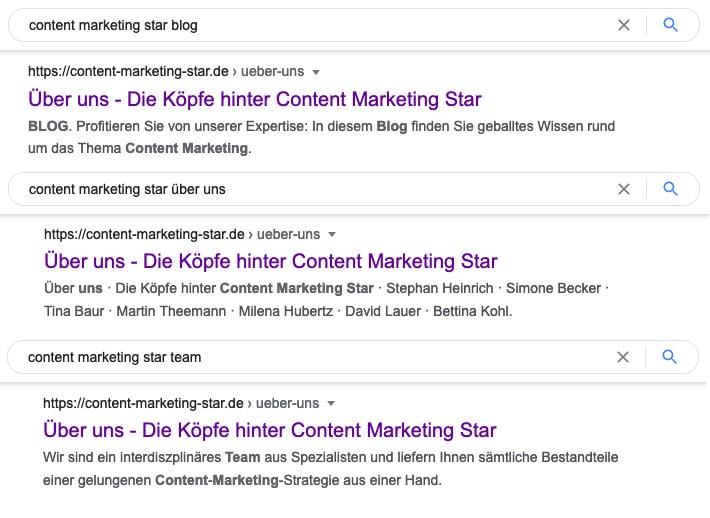 Beispiel: Google ändert die Metabeschreibung unserer Über-uns-Seite je nach Suchanfrage.